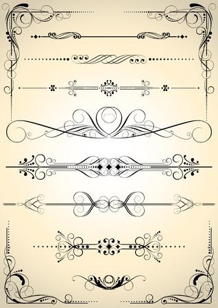 Set van retro decoratieve elementen Stock Illustratie