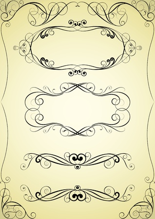 Set of swirl frame and corner design Illustration