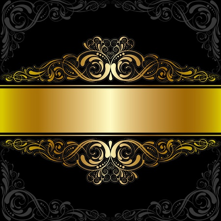 Golden black label design Vector