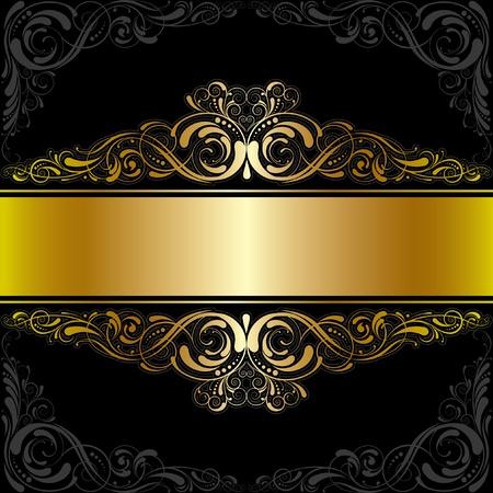 Golden black label design Ilustrace