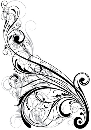 spotted flower: Swirl floral element  Illustration
