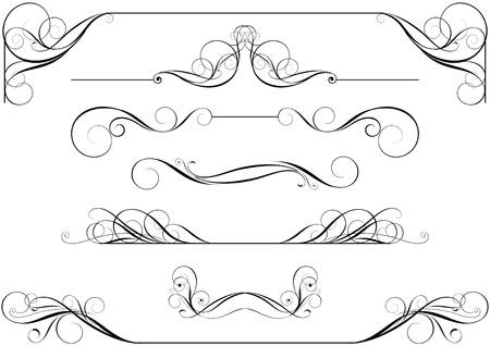 Set van kalligrafische Stock Illustratie