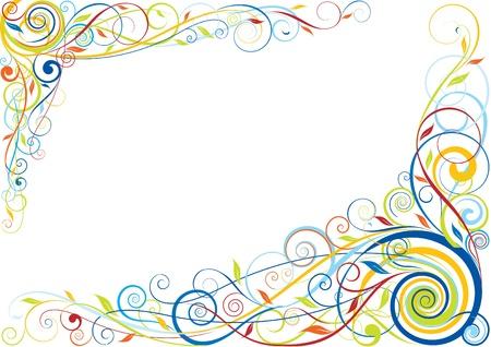 vintage grunge image: Swirl design color floreale Vettoriali