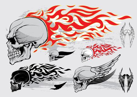 fire skull: Skull profile design elements Illustration