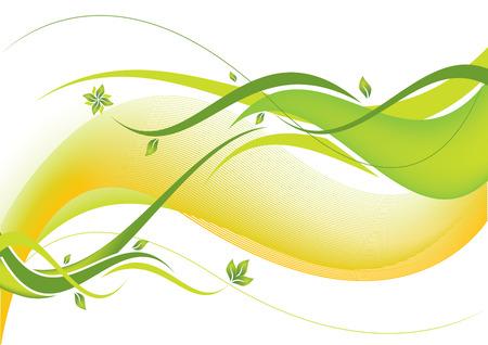 floral grunge: Green floral wave