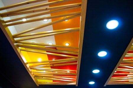 inserts: beautiful new ceiling with colored inserts, wood and a variety of light bulbs