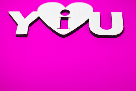 i love you sign: I love you sign on a white stencil  on a  violet background Valentines Day Stock Photo