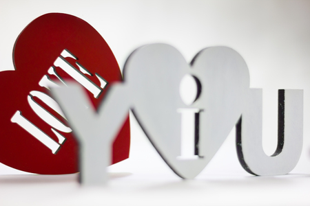 i love you sign: I love you sign on a white stencil on red background Heart Valentines Day Stock Photo