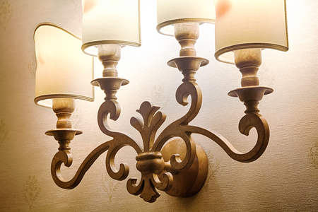 Beautiful large sconces on the wall in hotel