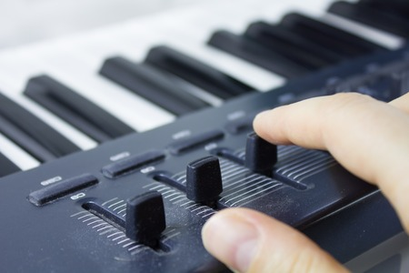 octaves: Part of the synthesizer is very close Stock Photo