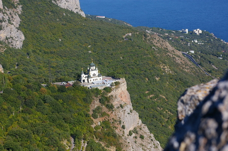 View of the Orthodox Church Foros in the Crimea in the summer