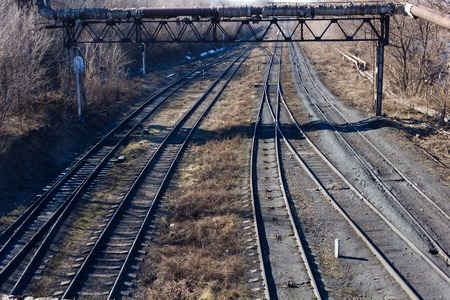 railroad tracks: View of the railroad tracks in the wilderness
