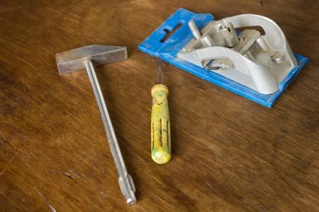 fix jaw: Set of mini tools hammer and screwdriver plane Stock Photo