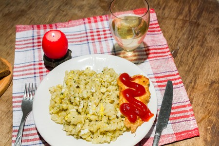 baked meat: candlelight dinner pasta with herbs and chicken