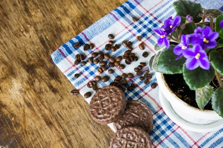 Gentle purple violets on a blue checkered napkin coffee beans and chocolate cookies close up view Stock Photo