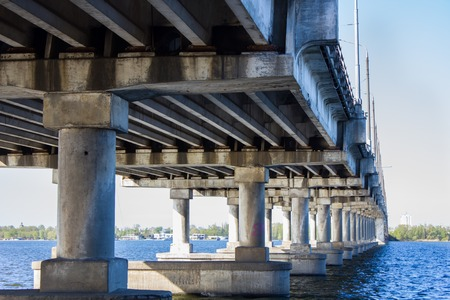 express lane: Large bridge over the river in perspective