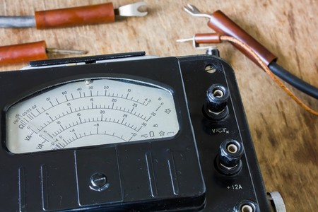 power meter: retro old electric meter for electrician .voltmeter, ammeter, ohmmeter, power meter Stock Photo