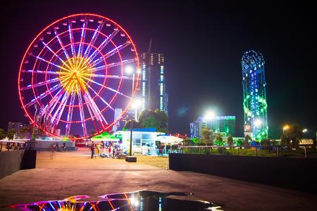Beautiful big colorful ferris wheel in Batumi, Georgia