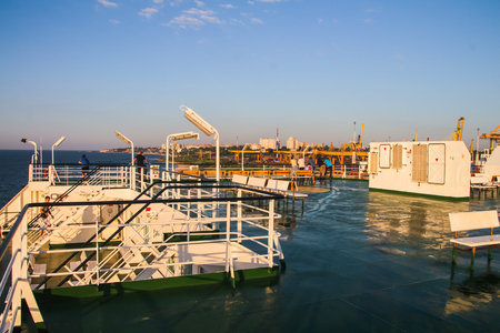 An interesting view of a large deck ferry Stock Photo