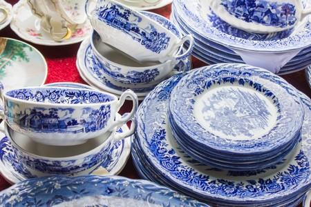 Blue Vintage tea set at a flea market