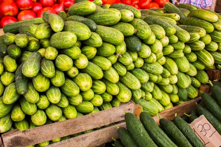 Big juicy ripe cucumbers in a pile on the counter market Reklamní fotografie