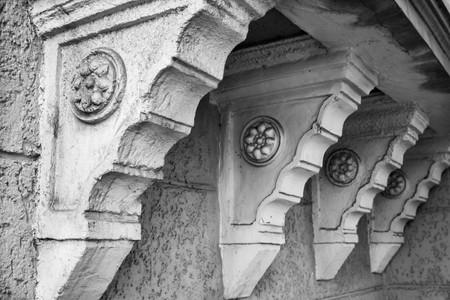 black and white photo Beautiful vintage architecture in Tbilisi, Georgia