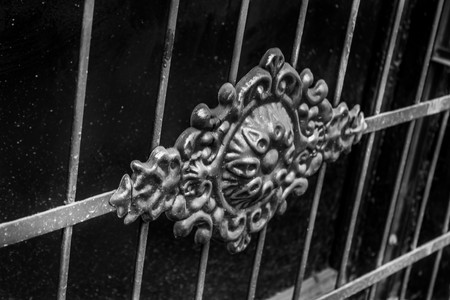 Black and white photo Beautiful wrought iron fence detail in the center of Tbilisi, Georgia