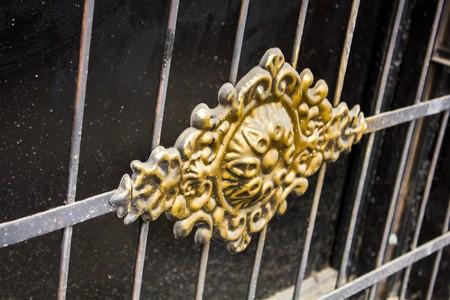 Beautiful wrought iron fence detail in the center of Tbilisi, Georgia Foto de archivo