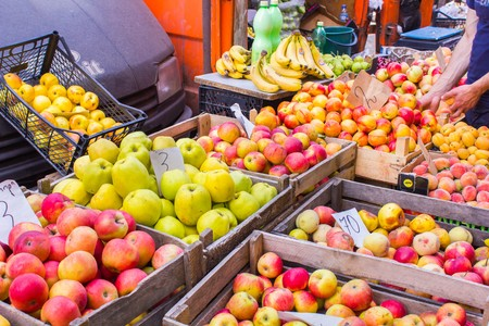 many different fruits on a market stall in Georgia Stock Photo