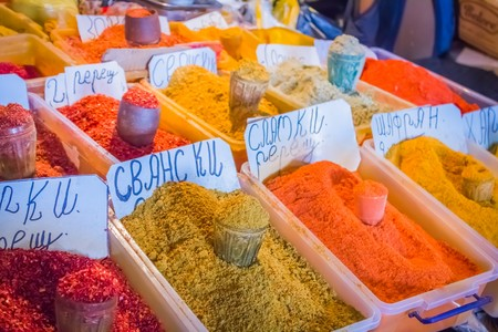 Various colorful spices on a market stall in Georgia