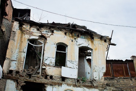with no one: old decrepit abandoned building where no one lives Stock Photo