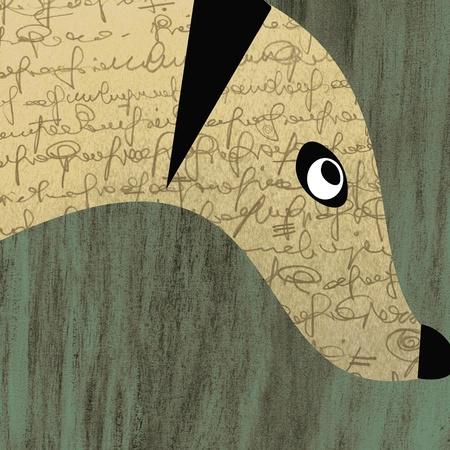 collage post card illustration - dog