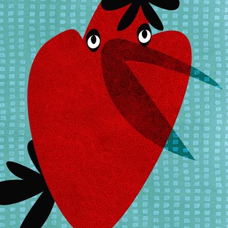 collage post card illustration - bird