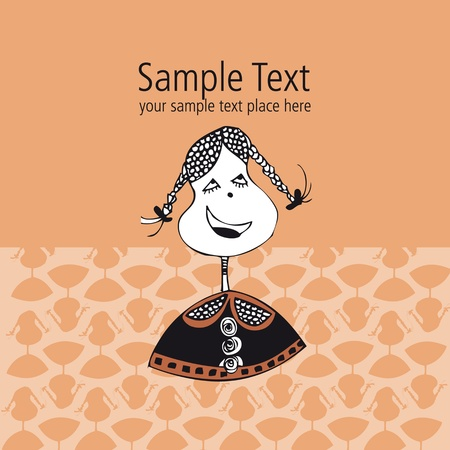 post card: vectorial template for post card design and textile pattern