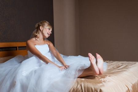Happy Bride in Bed