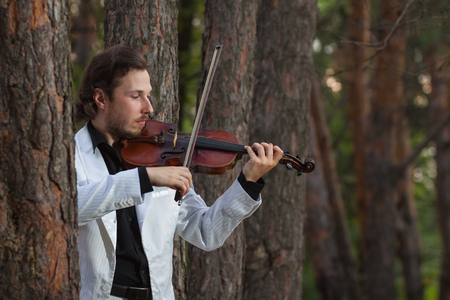 violinist: Professional violinist playing the violin Stock Photo