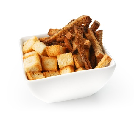 crouton: Restaurant food -  salted crouton mix beer snack isolated at the white background