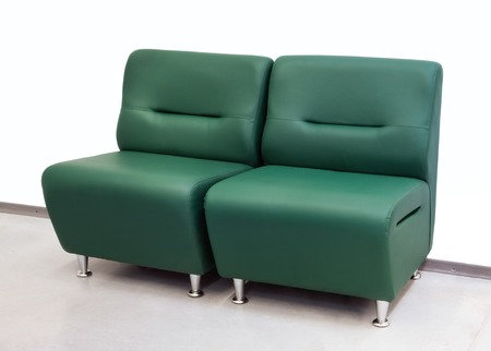 loveseat: Double leather green sofa for office