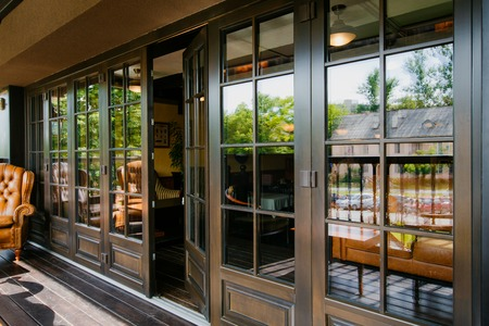 double glazing: Glazed entrance to the luxurious restaurant - door opens