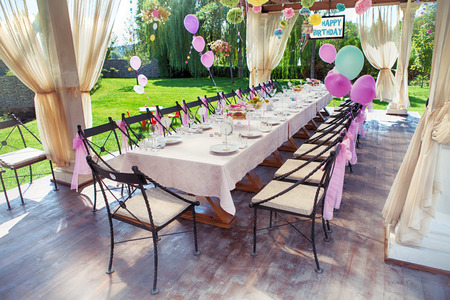 a marriage meeting: Beautifully organized event - served festive table waiting for guests