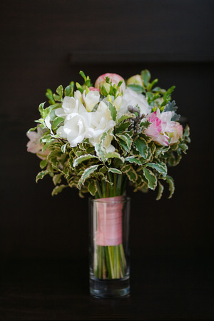 Bridal Wedding Bouquet In Vase At The Black Background Stock Photo