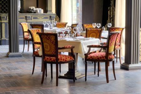 Luxurious italian restaurant interior with beautiful accessories Editorial