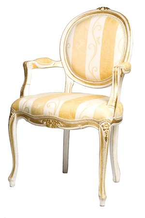 antique chair: Classic chair isolated at the white background Stock Photo