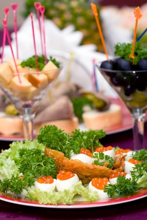 holiday catering: Catering - caviar appetizer in eggs beautifully decorated