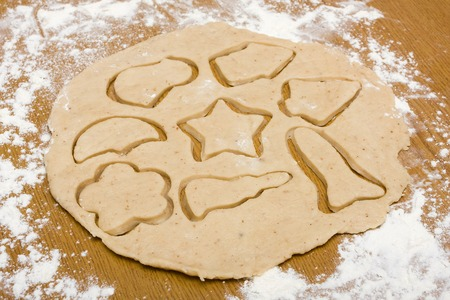 dough nut: Homemade nut cookie dough cut with different cookie cutters
