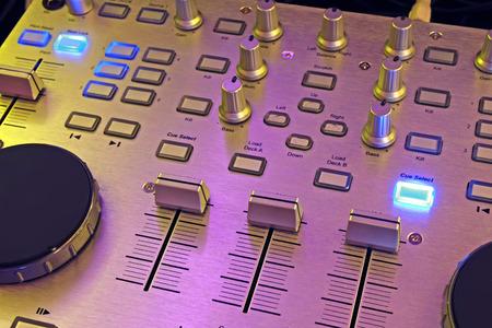 jockey: DJ control panel - professional sound and music mixer close-up