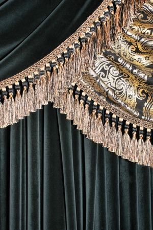 draped cloth: Luxurious dark curtain with tassels background