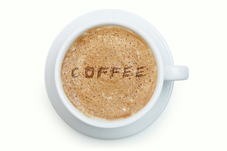 froth: White cup of latte with word coffee on its froth isolated
