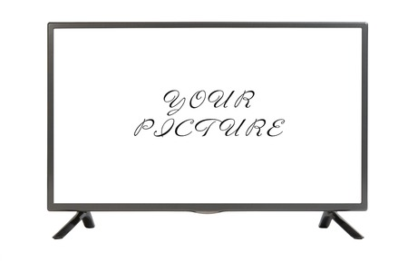 flat panel monitor: Modern plasma - LCD TV set isolated at white background