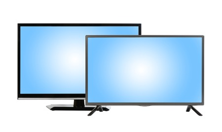 tv sets: Two modern plasmas - LCD TV sets isolated at white background Stock Photo